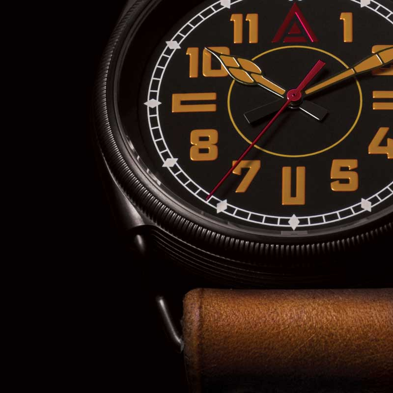 BRITISH MILTARY WATCHES WT AUTHOR CLOSE UP BLACK