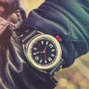 Black Classic Watch 'No. 1905' Jacket Wristshot Built in Britain by W. T. Author