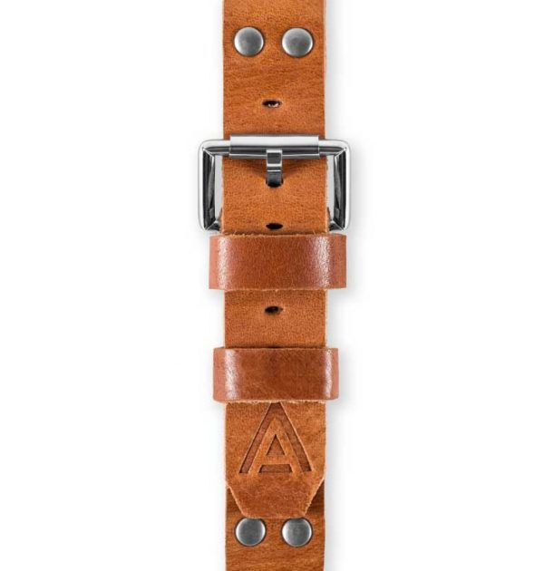 Tan Watch Band Fastened Top View Handmade by W T Author