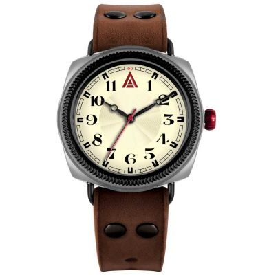 men's leather watches 'No. 1929' Front View Built in Britain by W. T. Author