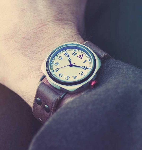 Cream Cushion Watch 'No. 1929' Jacket Wristshot Built in Britain by W. T. Author