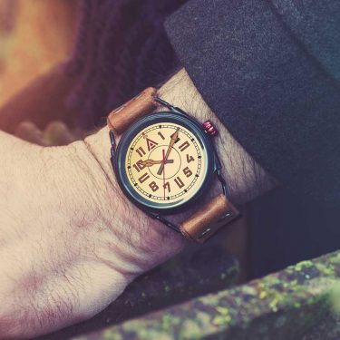 Cream Military Watch 'No. 1914' Jacket Wristshot Built in Britain by W. T. Author