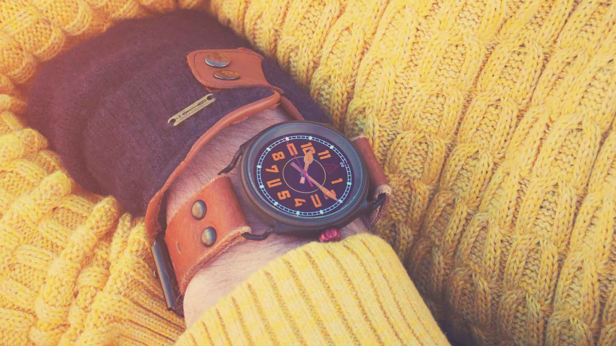 trench style watch no 1914 black wt author wrist shot yellow jumper