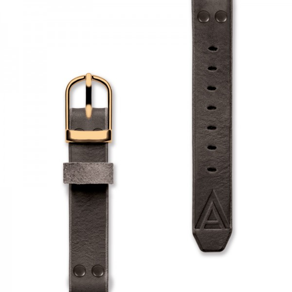 Leather watch strap front black by WT Author