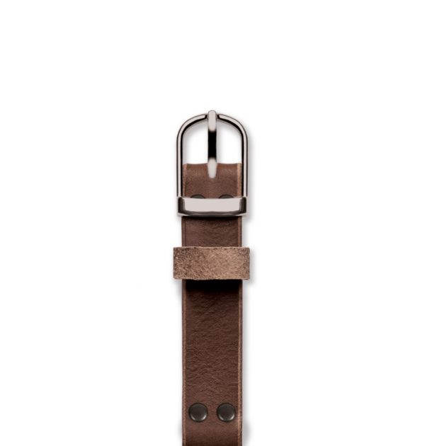 Handmade brown strap 'No. 1929' Silver Top View
