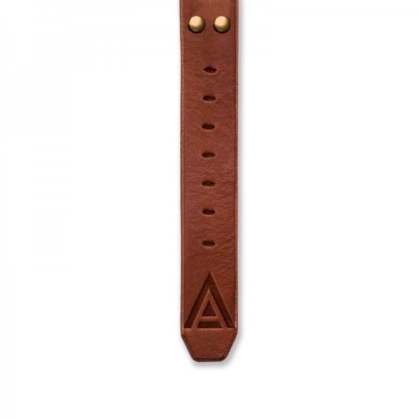 Handmade leather strap 'No. 1929' Tan / Gold Bottom View