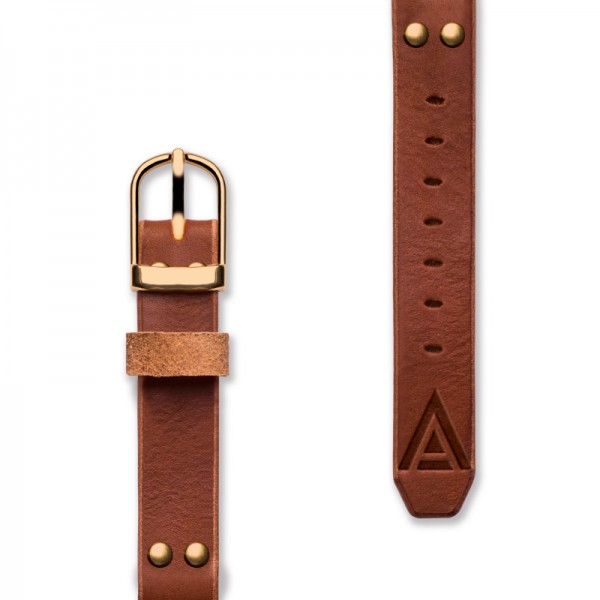 Handmade leather strap 'No. 1929' Tan / Gold Complete View