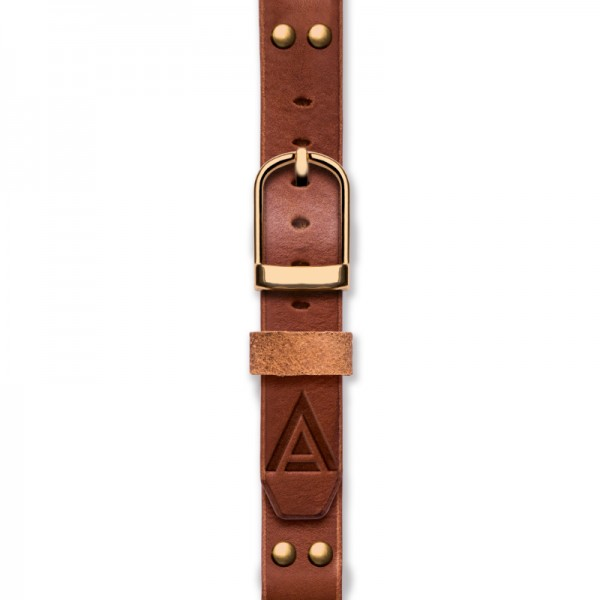 Handmade leather strap 'No. 1929' Tan / Gold Fastened View