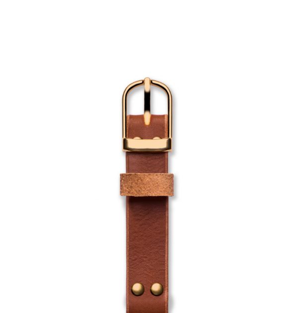 Handmade leather strap 'No. 1929' Tan / Gold Top View
