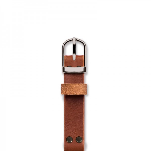Handmade tan strap 'No. 1929' Silver Top View