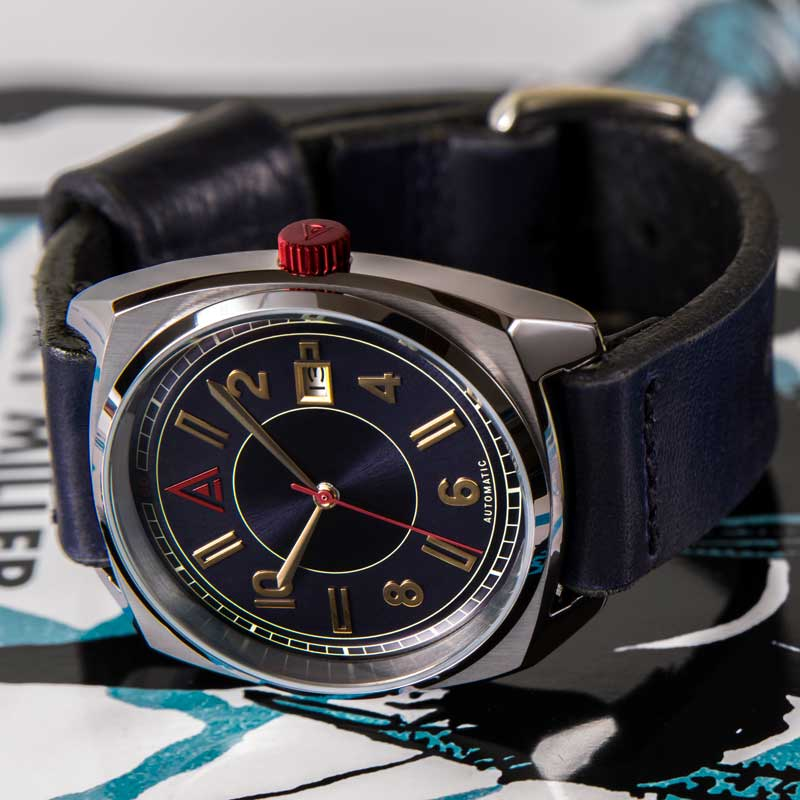 classic automatic watch blue hero shot by wt author