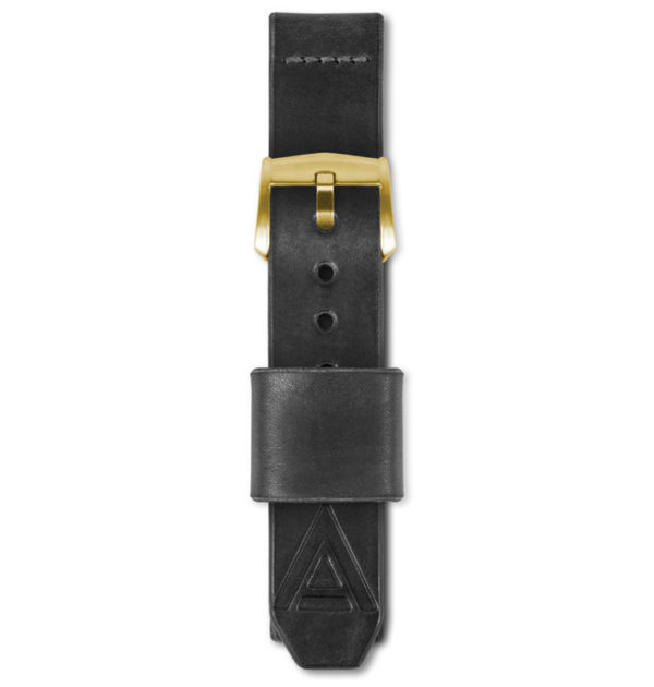 black handmade watch strap fastened