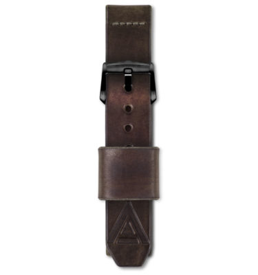 brown handmade watch strap fastened