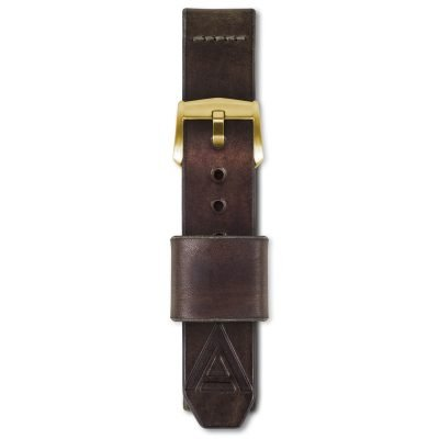 brown watch strap fastened