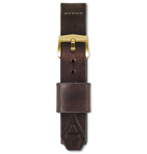 brown leather watch strap fastened