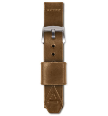tan handmade watch strap fastened