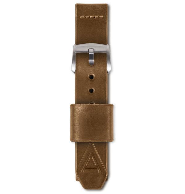 tan handmade watch strap fastened