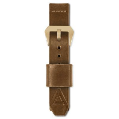 tan watch strap fastened