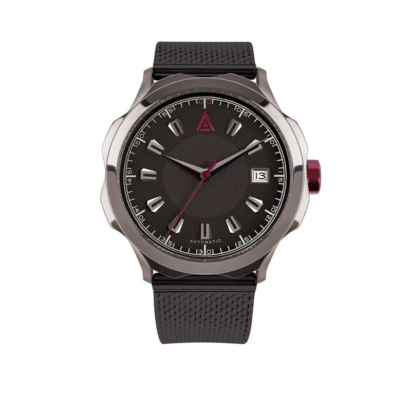 HANDMADE WATCHES FOR MEN BLACK MESH Nº 1953 AUTOMATIC FRONT