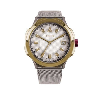 ladies silver mesh watch EMMELINE AUTOMATIC FRONT