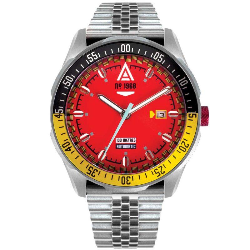 automotive watch scarlet bracelet 1968 front wt author