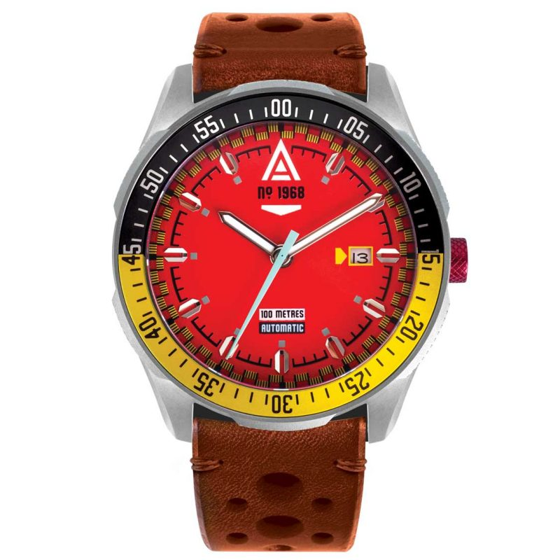automotive watch scarlet strap 1968 front wt author