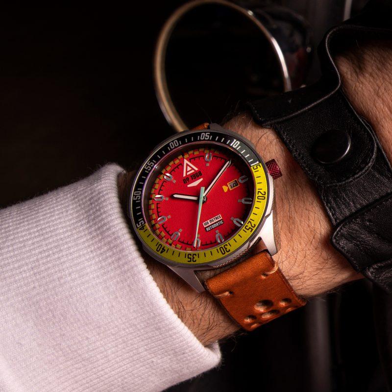automotive watch scarlet strap 1968 wrist wt author