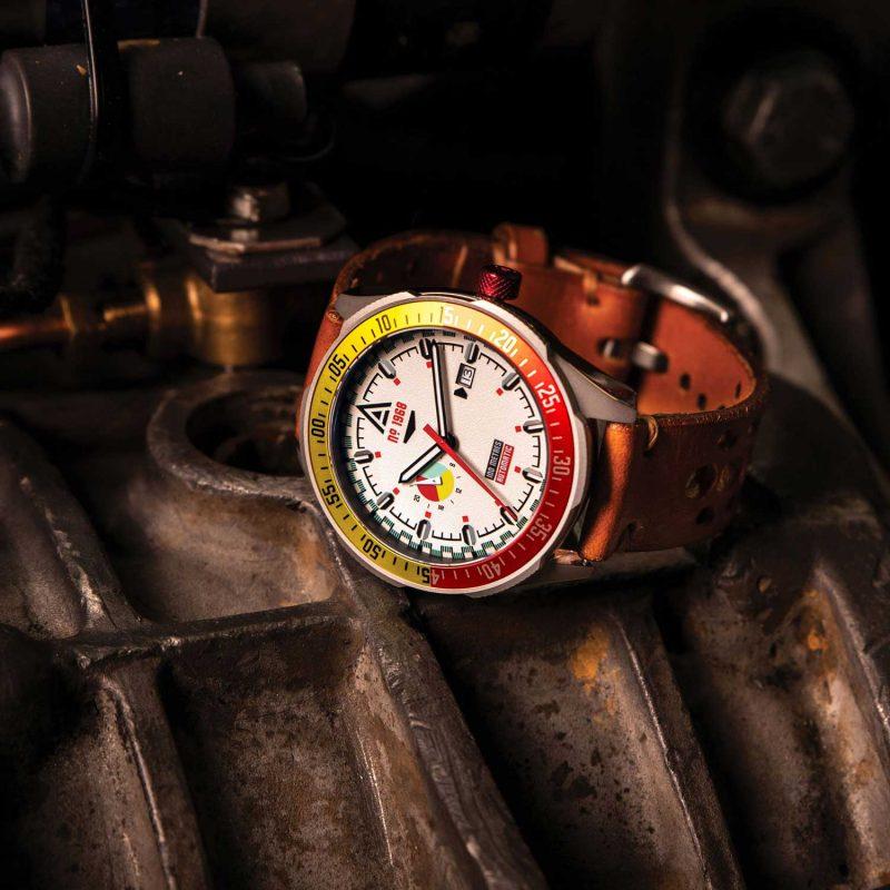 automotive inspired watches white bracelet 1968 hero wt author