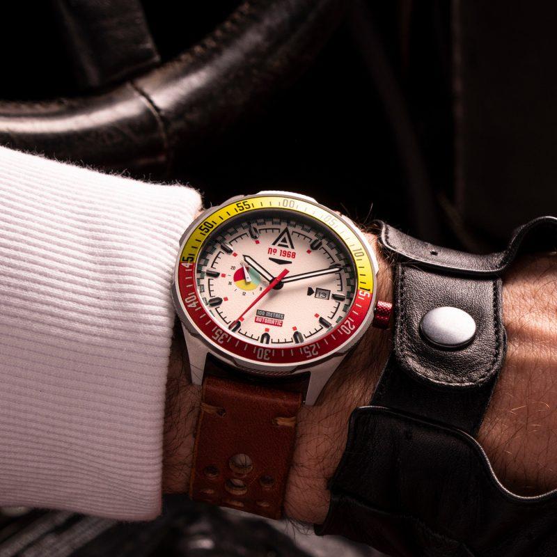 automotive inspired watches white bracelet 1968 wrist wt author