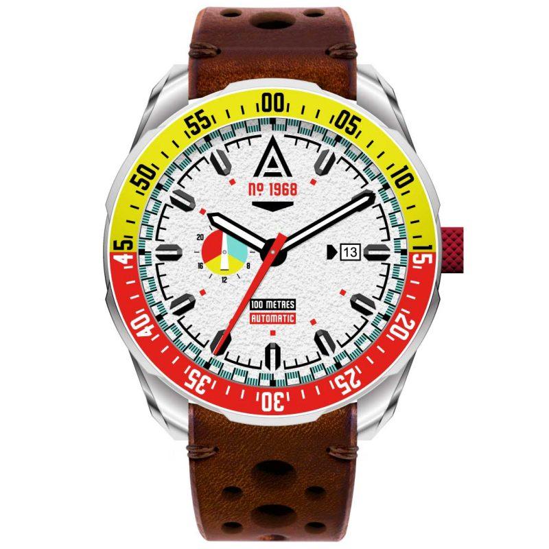 automotive watches white strap 1968 front wt author