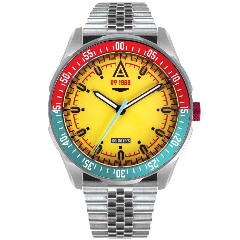 motorsport watch yellow bracelet 1968 front wt author