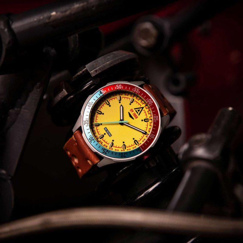 motorsport watch yellow bracelet 1968 hero wt author
