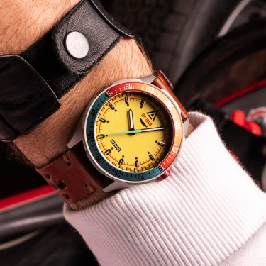 motorsport watch yellow bracelet 1968 wrist wt author