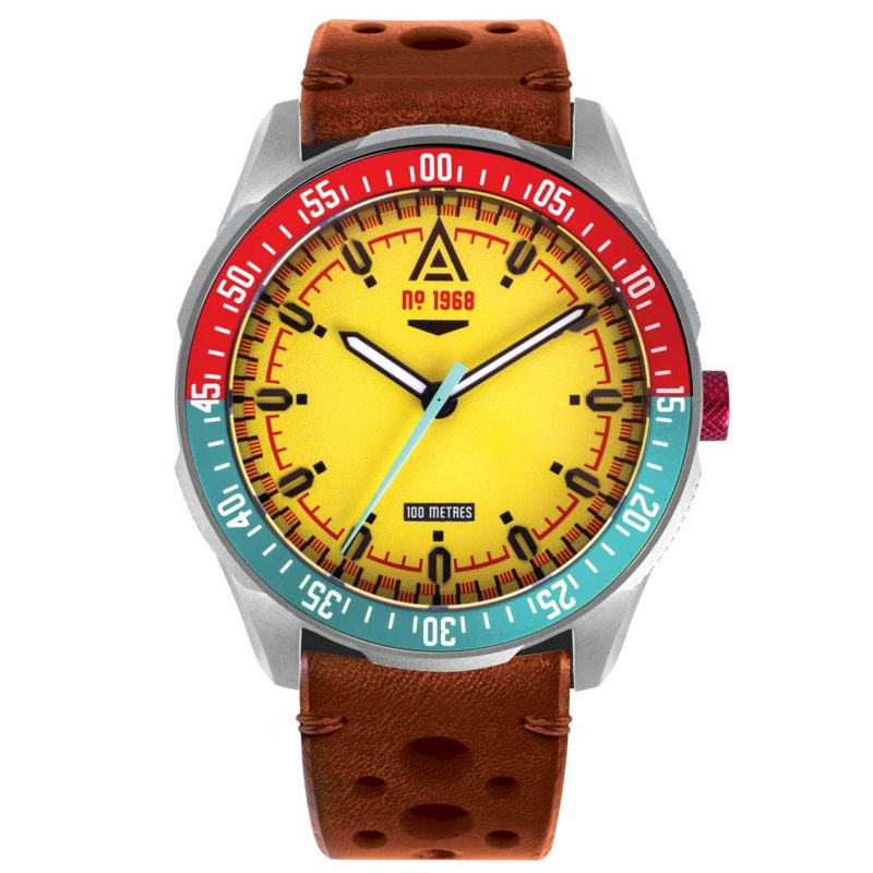 motorsport watch yellow strap 1968 front wt author
