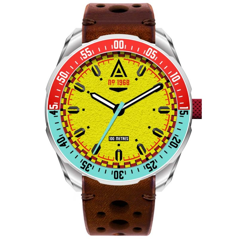 classic car watches yellow strap 1968 front wt author