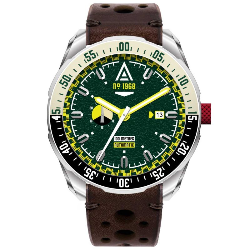 driving watches green strap 1968 front wt author