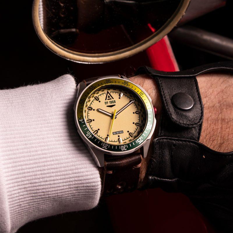racer watch cream 1968 wrist wt author