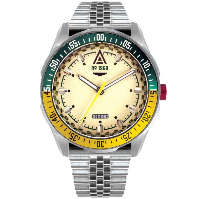 racer watch cream bracelet 1968 back wt author
