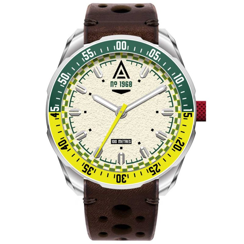racer watch cream strap 1968 back wt author