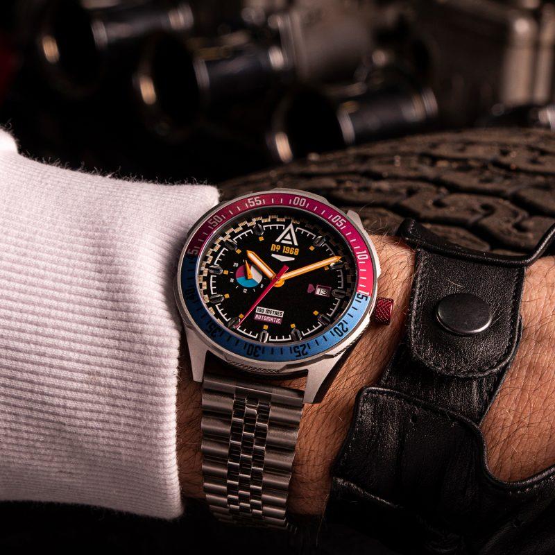 racer watches black bracelet 1968 wrist shot