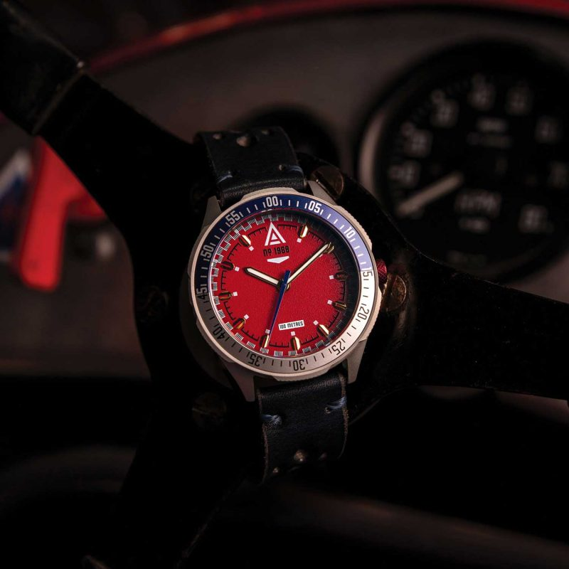 racing watch red bracelet 1968 hero wt author