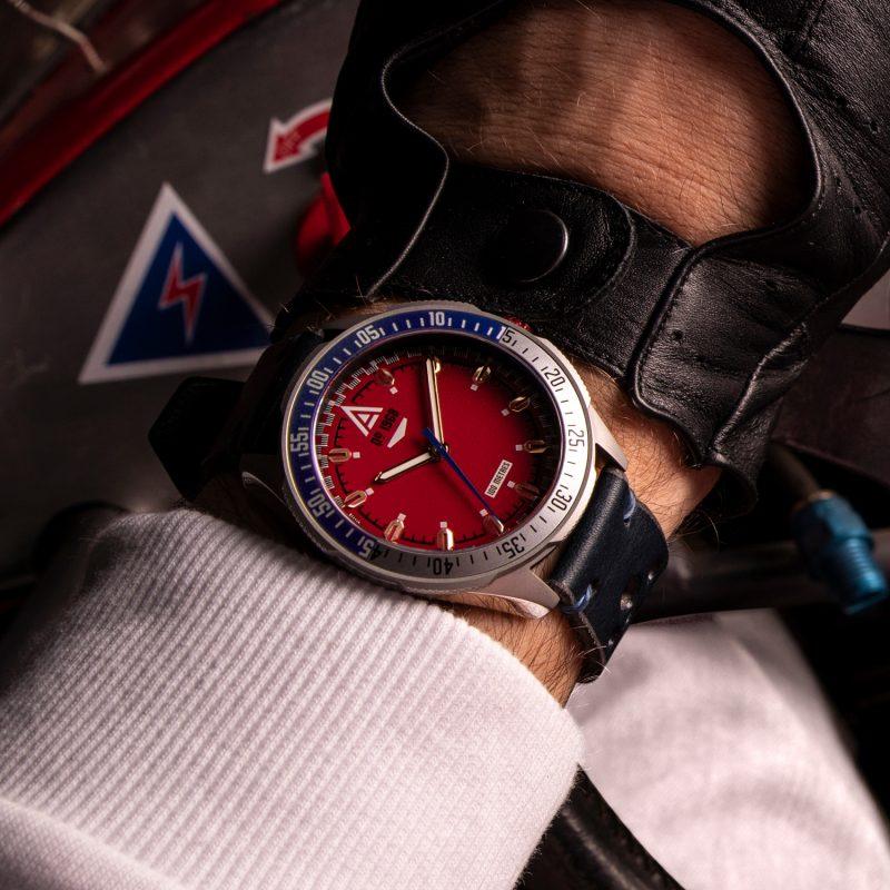 racing watch red bracelet 1968 wrist wt author