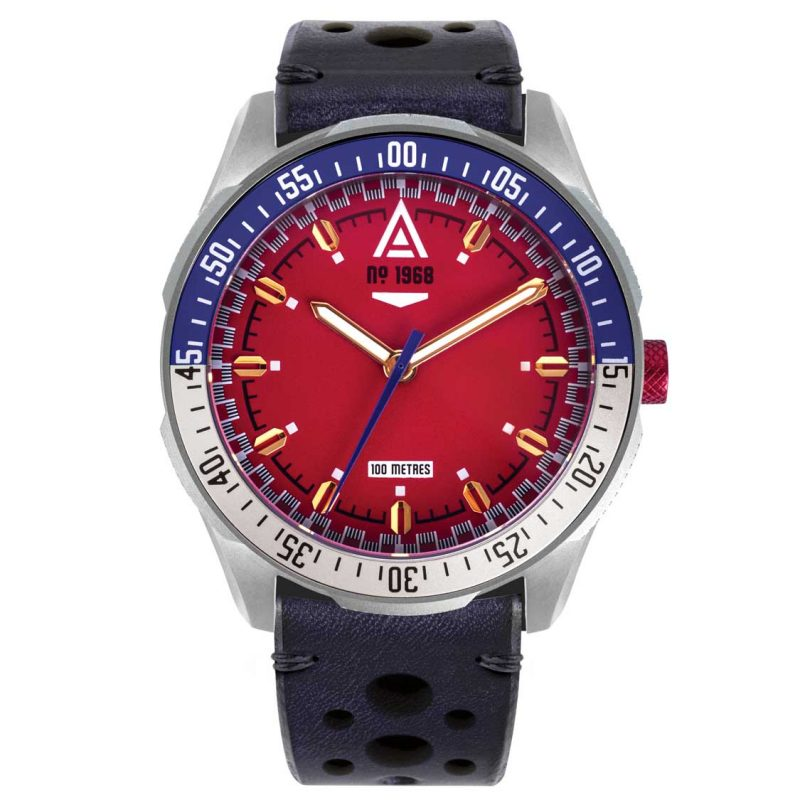 racing watch red strap 1968 front wt author