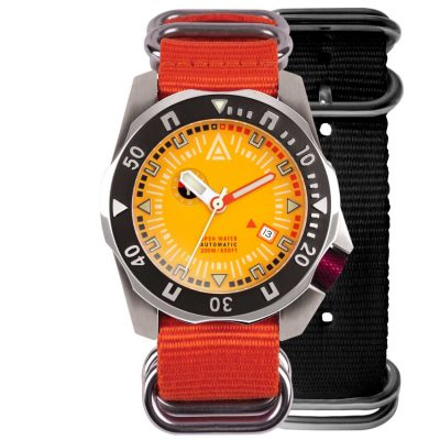 dive watch yellow dial both nylon nato strap wt author front