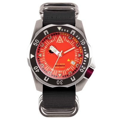 dive watches orange dial black nylon nato strap wt author front