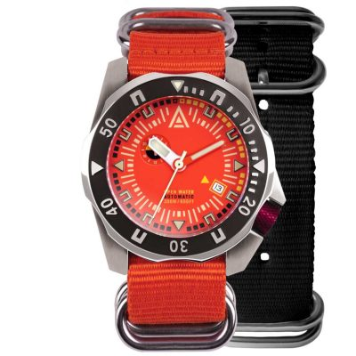dive watches orange dial both nylon nato strap wt author front
