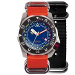divers watch blue dial both nylon nato strap wt author front