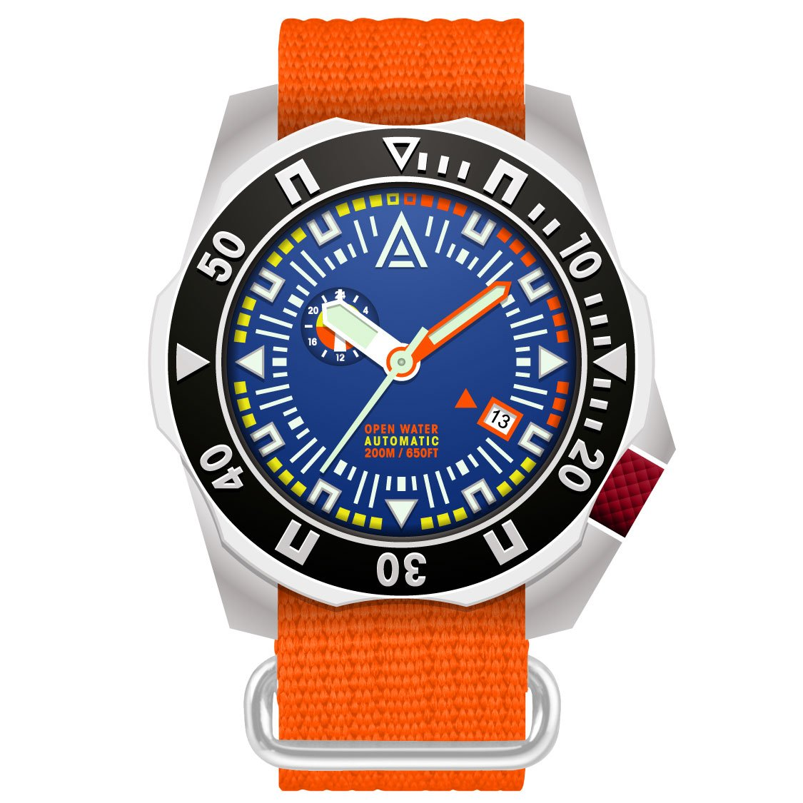 diving watches blue dial orange nylon nato strap wt author front